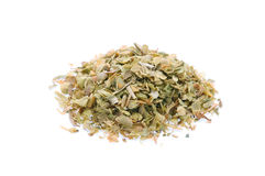 Dried oregano leaves on a white background Royalty Free Stock Photo