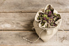 Dried oregano in a linen bag Royalty Free Stock Photo