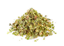 Dried Oregano. On white background Royalty Free Stock Photo