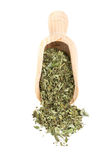 Dried oregano on wooden scoop Royalty Free Stock Photo