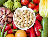 Dried organic chickpea and vegetables Royalty Free Stock Images