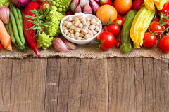 Dried organic chickpea and vegetables Stock Photo
