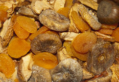 Dried organic fruit, background, selective focus Royalty Free Stock Photos