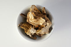Dried organic porcini mushroom in a bowl Stock Images