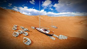 Dried out lake with boats Royalty Free Stock Photography