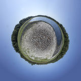 Dried Out Lake Tiny Planet Stock Photo