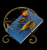 Dried-out rose on book and book stand Royalty Free Stock Photo