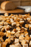 Dried in the oven bread cubes, croutons Royalty Free Stock Photo