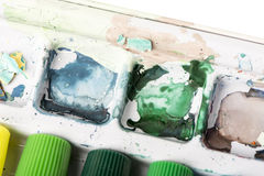 Dried Paint Palette - Cool Stock Image