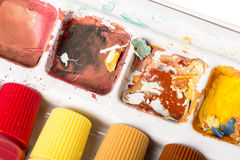 Dried Paint Palette - Warm Royalty Free Stock Photos