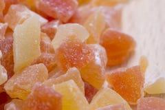 Dried papaya, extreme close up Royalty Free Stock Images