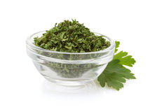 Dried parsley in bowl Royalty Free Stock Image