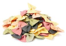 Dried pasta: Farfalle. Uncooked Farfalle isolated on white Stock Images