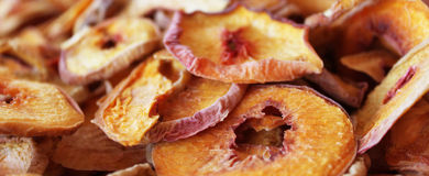Dried peach. Dried slices of peach in shop Royalty Free Stock Photos