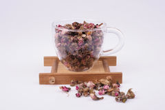 Dried Peach Blossom In Tea Cup Stock Image