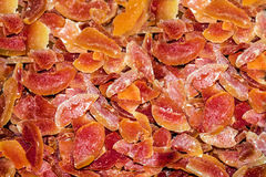 Dried peach fruits. Slices background. Stock Photo