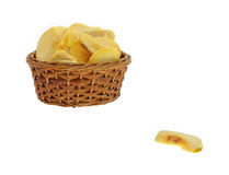 Dried Peach Slices Basket Royalty Free Stock Photography
