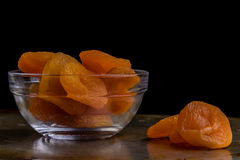 Dried peach on steel plate Royalty Free Stock Images