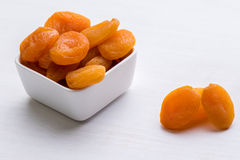 Dried peach on white table Royalty Free Stock Photo
