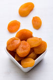 Dried peach on white table Royalty Free Stock Photos