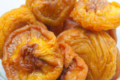 Dried Peaches. Macro of dried peaches in a bowl Stock Photography