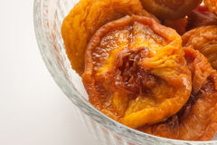 Dried Peaches in Glass Bowl Royalty Free Stock Image