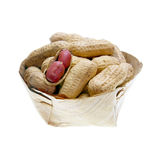 Dried peanuts in basket isolated Royalty Free Stock Photography