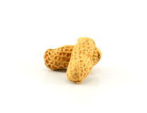 Dried peanuts in closeup. Clipping Path. Royalty Free Stock Photography