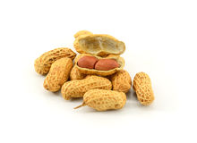 Dried peanuts in closeup. Stock Photos