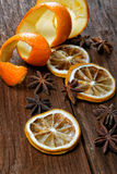 Dried peel of an orange and spice Royalty Free Stock Photography
