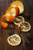 Dried peel of an orange and spice Stock Photography