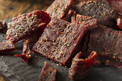 Dried Peppered Beef Jerky Royalty Free Stock Photography