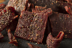 Dried Peppered Beef Jerky Royalty Free Stock Photos