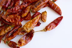 Dried peppers. Dried red chili peppers isolated on white background Stock Photo