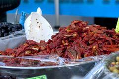Dried peppers on the market Royalty Free Stock Photo