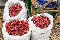 Dried Peppers in the market Stock Photo