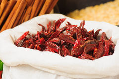 Dried Peppers in the market Stock Photography