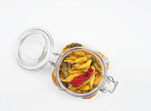 Dried Peppers in Wire Bail Jar Stock Photo