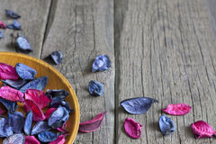 Dried petals in bowl spa concept Stock Images