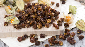 Dried Physalis. (with some fresh fruits stock image