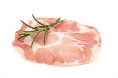 Dried pig meat slices. Delicatess. Royalty Free Stock Photos