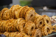 Dried pineapple in the market Royalty Free Stock Image