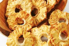 Dried pineapple rings. Studio shot Stock Images