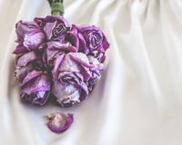 Dried Pink Roses on Satin Stock Photography