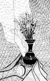 Dried plants in metal jug. Still life with dried plants in metal jug stock illustration