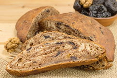Dried plums bread Stock Images