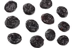 Dried plums - prunes isolated on white background. top view royalty free stock photography