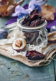 Dried plums  in a transparent jar Royalty Free Stock Image