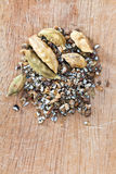Dried pods and freshly ground of cardamon Stock Photos