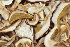 Dried porcini mushrooms background. Macro Royalty Free Stock Photo